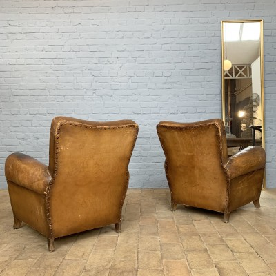 Pair of leather club armchairs 1930 french