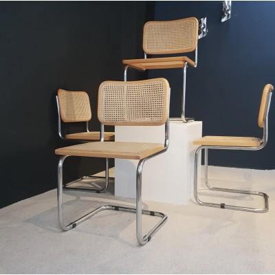 Série de 4 Chaises Marcel Breuer B32 BAUHAUS 1970 Design vintage