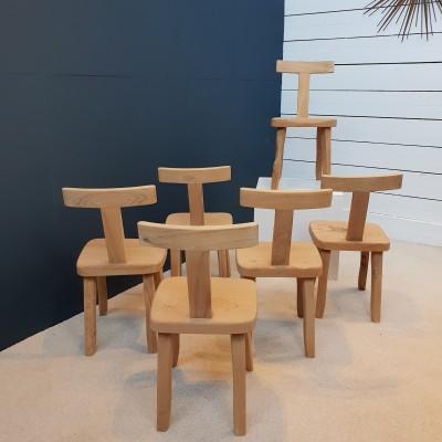 """Série de 6 chaises brutalistes """"Olavi Hanninen"""""""
