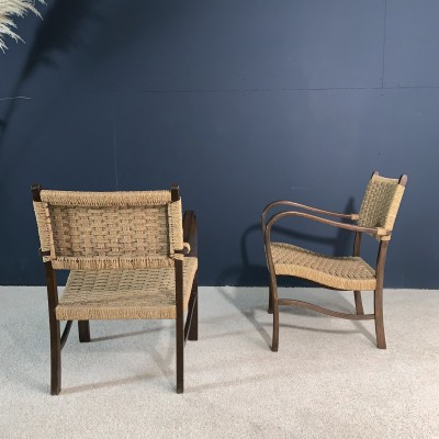 Pair of wooden armchairs and rope 1960