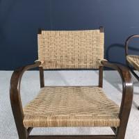 Paire de fauteuils en bois et corde 1960