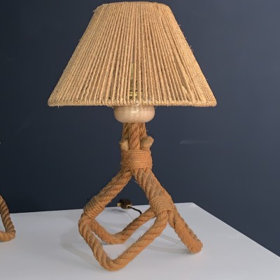 "Pair of rope lamps by ""Audoux Minet"" 1950"