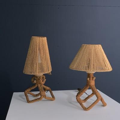 """Paire de lampes en corde par """"Audoux Minet"""" 1950"""