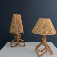 """Pair of rope lamps by """"Audoux Minet"""" 1950"""
