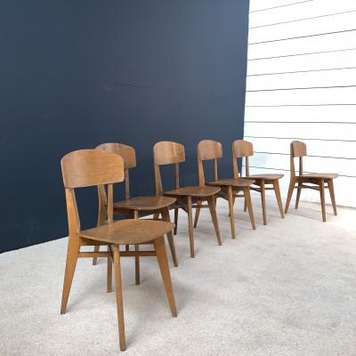 Série de 6 chaises en bois 1950