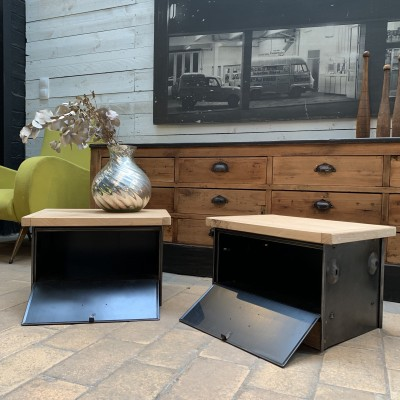 Pair of industrial bedside tables