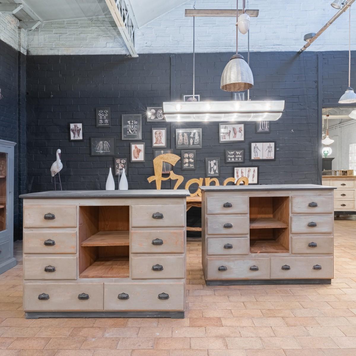 Pair of wooden workshop furniture