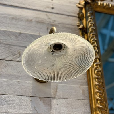 Wall lamp in glass and brass Holophane