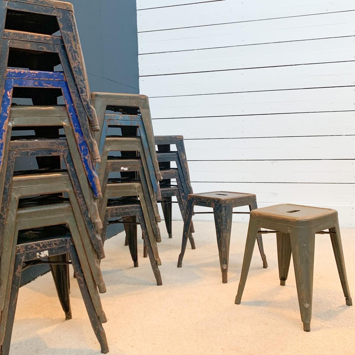 Set of 22 Tolix industrial stools
