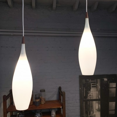 Pair of 1960 opaline pendant lights