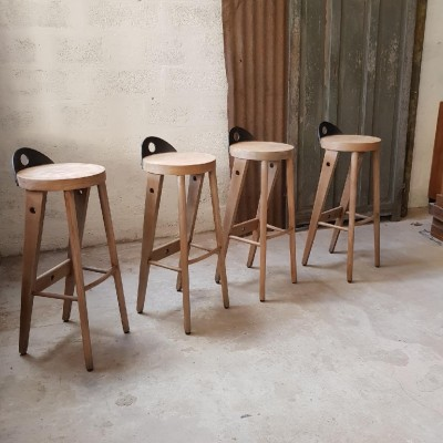 Set of 4 French high stools circa 1960