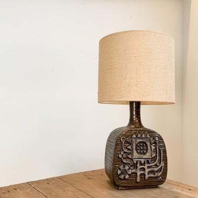 Grande lampe brutaliste en céramique par Emiel Laskaris