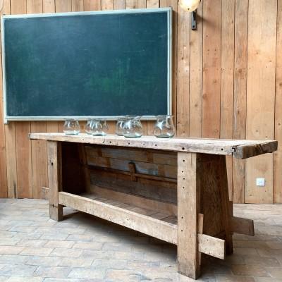 Ancien établi d'atelier en bois