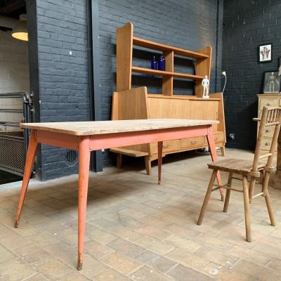 Table tolix métal et bois
