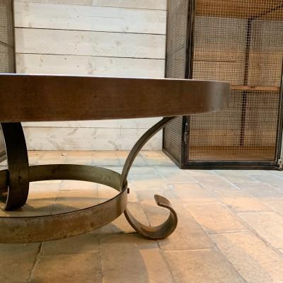 Table basse lave émaillée et céramique 1950