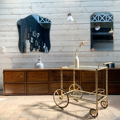 Trolley in gilded metal
