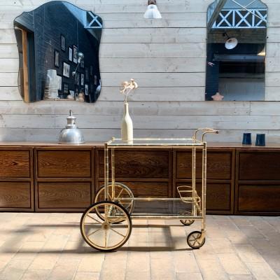 Trolley in gilded metal