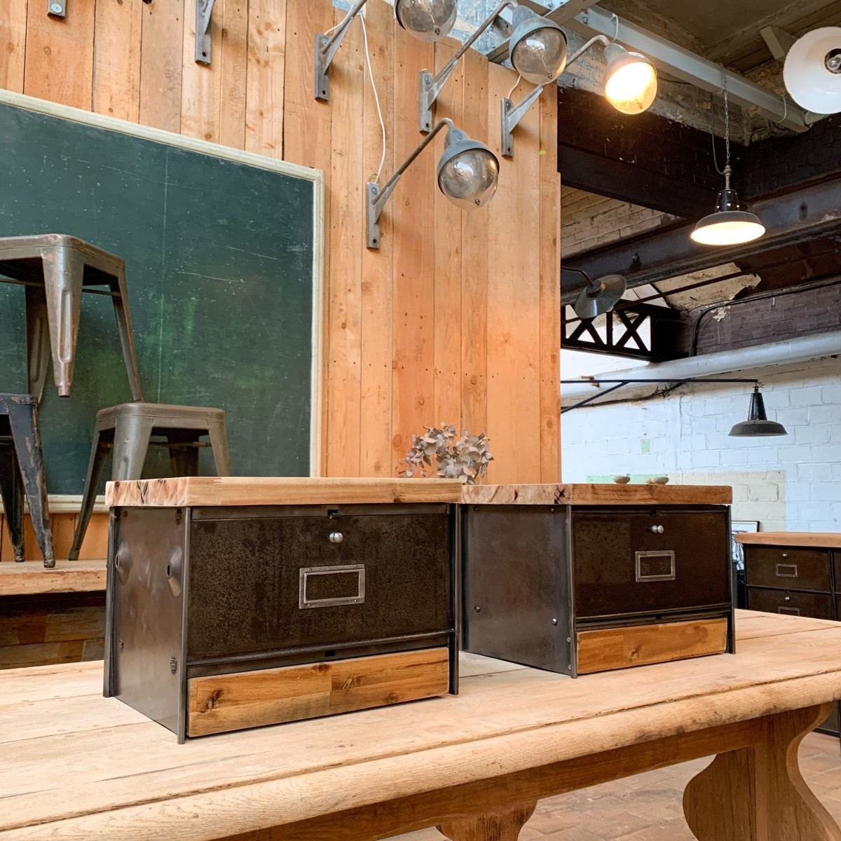 Pair of industrial metal and wood bedside tables