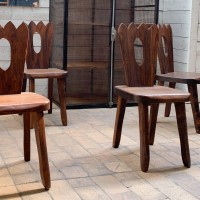 Series of brutalist chairs in solid elm circa 1960