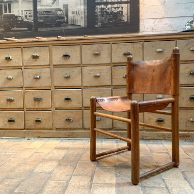 Ancienne chaises cuir et bois des années 50