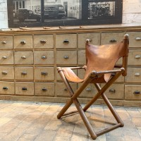 Leather and wood armchair 1950