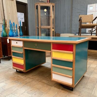 Vintage desk in walnut and formica 1970