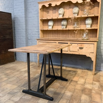 Industrial metal and wood table