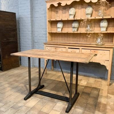 Table industrielle métal et bois