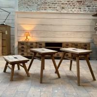 Set of french primitive stools