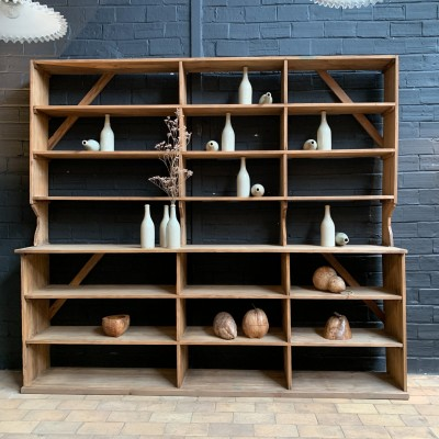 French wooden grocery shelf