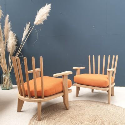 Paire de fauteuils vintage de GUILLERME ET CHAMBRON