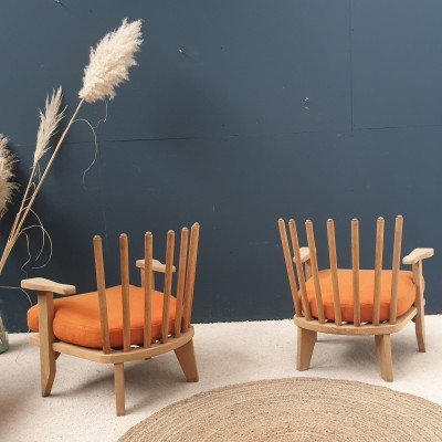 Pair of french designer GUILLERME and CHAMBRON armchairs