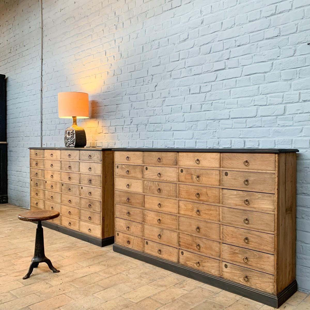 Pair of French oak hardware furniture