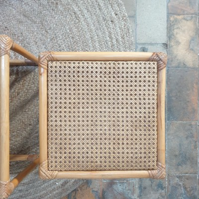 Rattan and cane nesting table