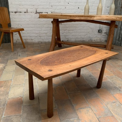 French folk art wooden coffee table 1950