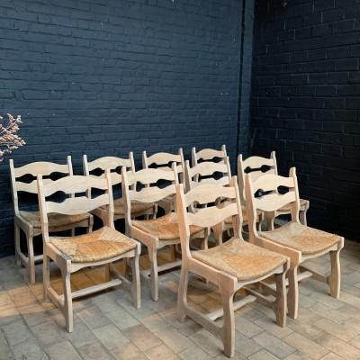 Series of 10 wood and straw chairs 1960