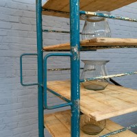 Metal and wood bakery shelf