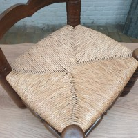 Chair in straw and raw wood by Charles DUDOUYT