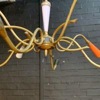 Vintage brass chandelier 1950
