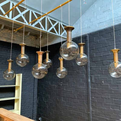 Series of 8 vintage copper and glass pendant lights