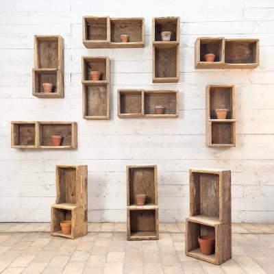 Ensemble de 11 bacs primitifs en bois