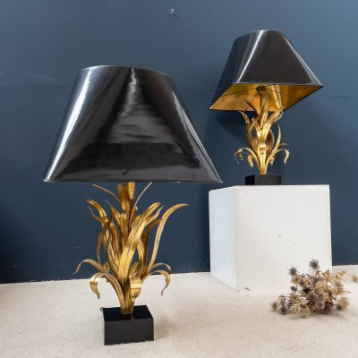 "Imposing pair of gilt metal lamps ""Bagués"" 1970"