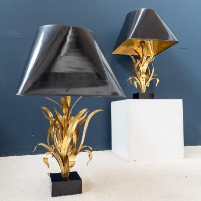 """Imposing pair of gilt metal lamps """"Bagués"""" 1970"""