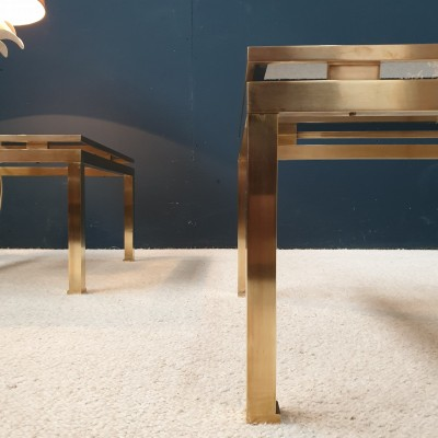 "Pair of  brass coffee tables by ""Maison JANSEN"" Paris"
