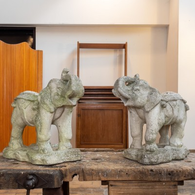 Pair of concrete elephants 1950