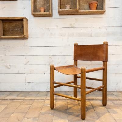 Chaise cuir et bois 1950