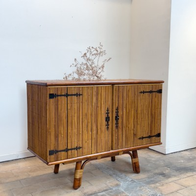 Vintage sideboard by Audoux minet in bamboo 1960