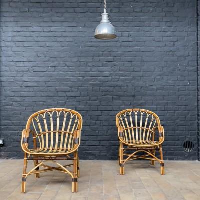 Paire de fauteuils en rotin 1970