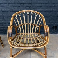 Pair of rattan armchairs 1970