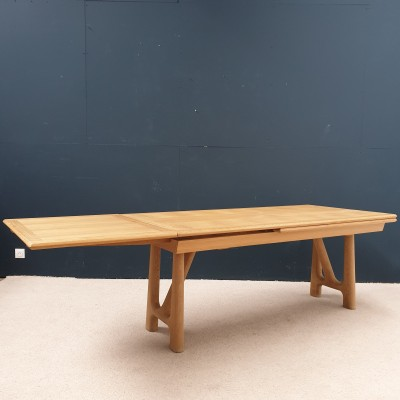 French oak table by GUILLERME and CHAMBRON 1950
